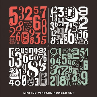 Collection of numbers in vintage style