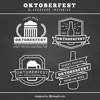 Collection of oktoberfest blackboard insignias