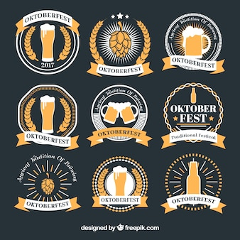 Collection of oktoberfest round stickers in gray and yellow