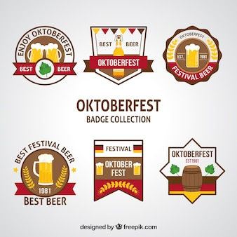Collection of oktoberfest stickers in different shapes