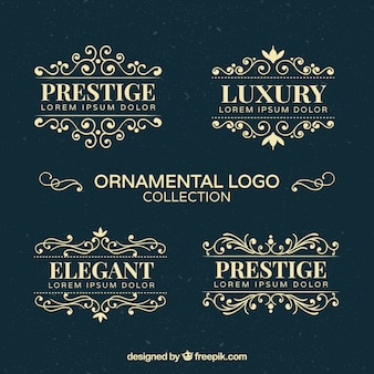 Collection of ornamental golden logos