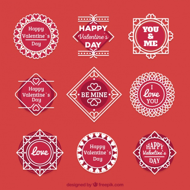 Collection of ornamental valentine stickers