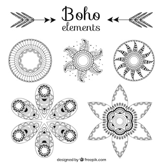 Collection of ornaments in boho style