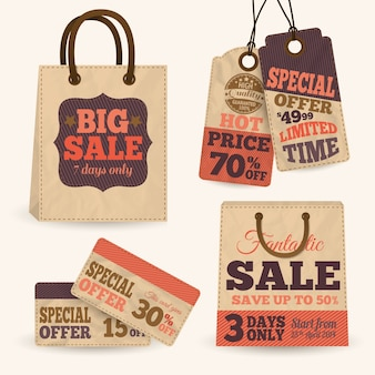 Collection of paper sale price tags