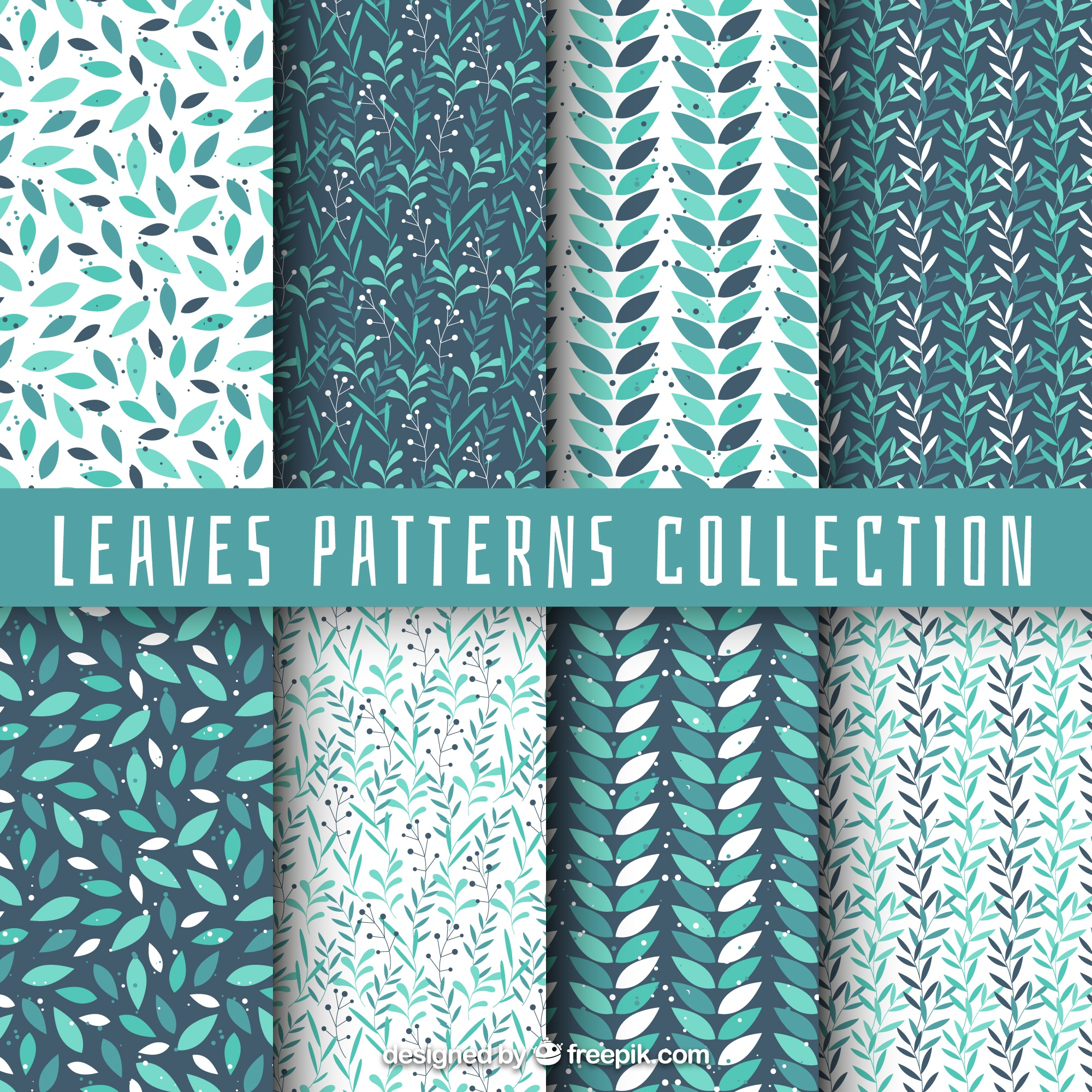 Collection of pattern with leaves