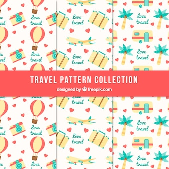 Collection of pattern with summer travel elements