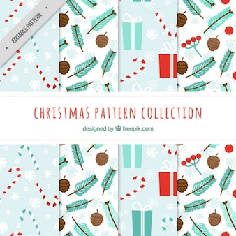Collection of patterns with christmas elements