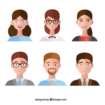 Collection of people avatar in flat design