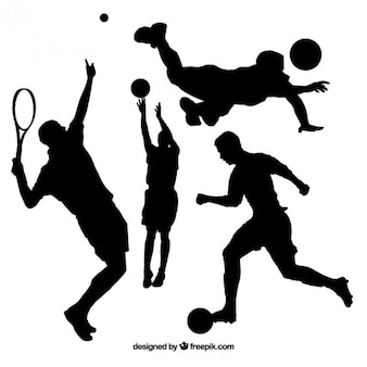 Collection of people doing sport silhouette
