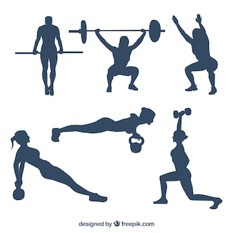 Collection of people practicing crossfit silhouettes