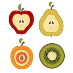Collection of pieces of fruit cut in half