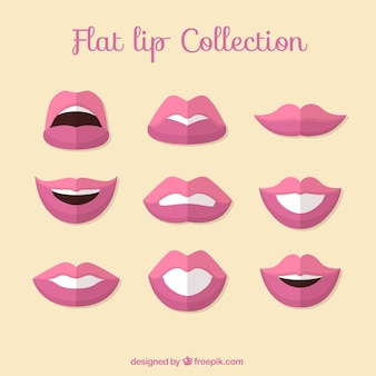 Collection of pink lips in flat design