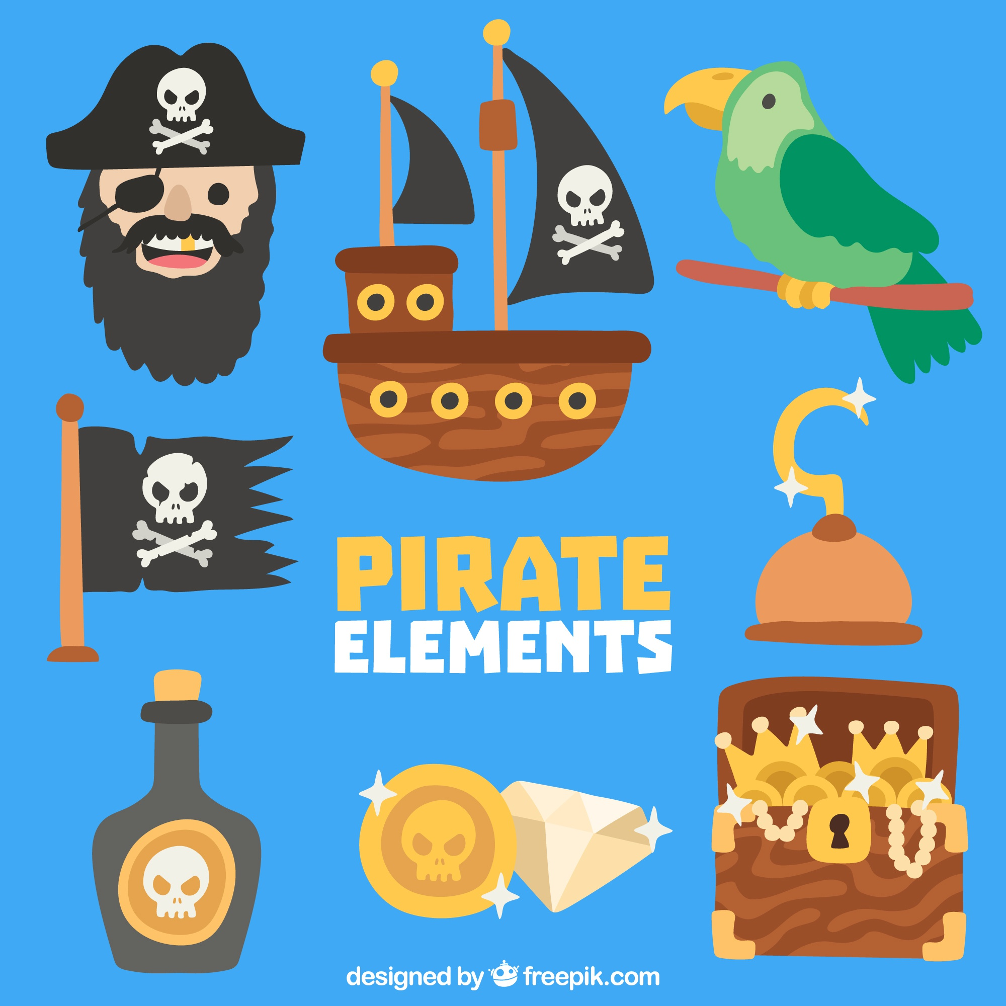 Collection of pirate and parrot with other objects