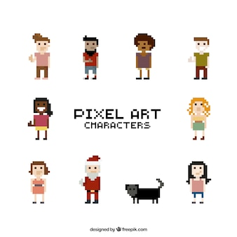 Collection of pixelated characters