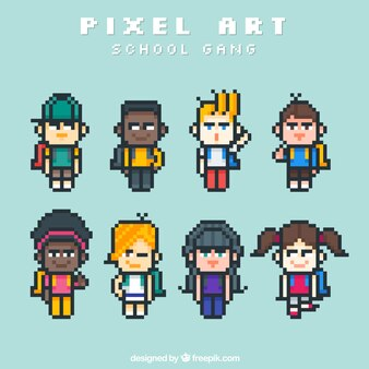 Collection of pixelated students