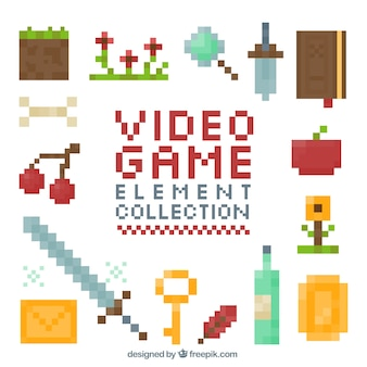 Collection of pixelated video game item