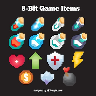 Collection of pixelated videogame drawings