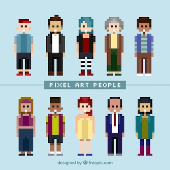 Collection of pixilated people