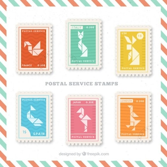 Collection of postal service stamp with origami animal shapes