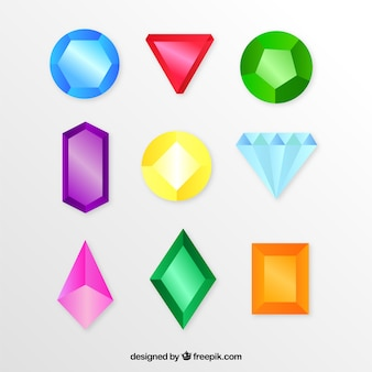Collection of precious stones and diamonds in flat design