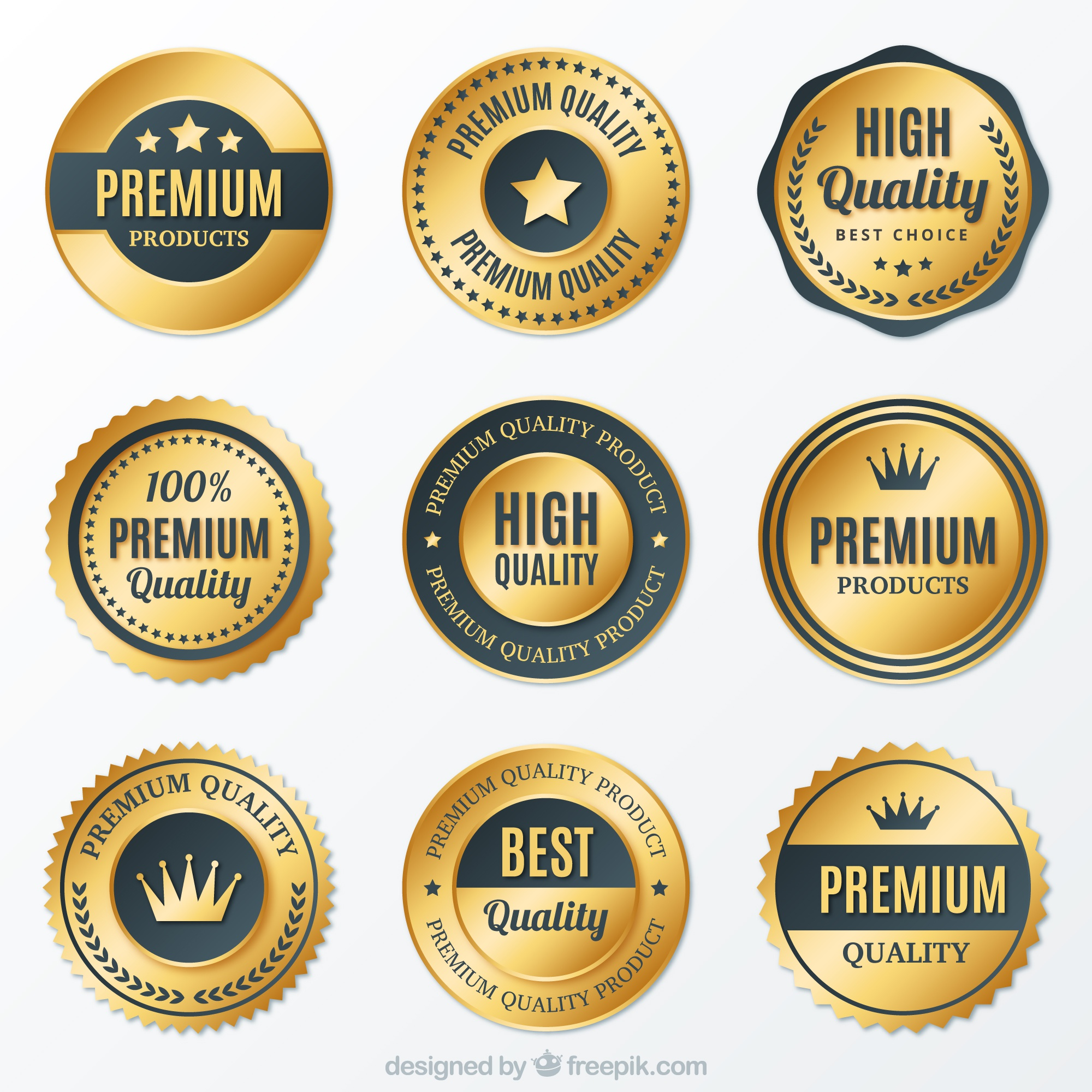 Collection of premium golden round badges