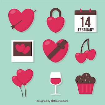 Collection of pretty and sweet valentine elements