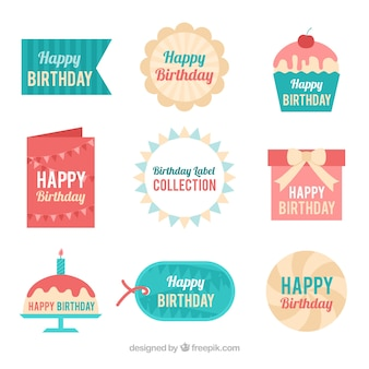 Collection of pretty birthday sticker