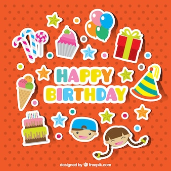 Collection of pretty birthday stickers