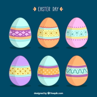 Collection of pretty easter eggs