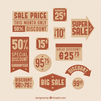 Collection of price labels in brown tones