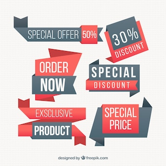 Collection of price labels with irregular shapes