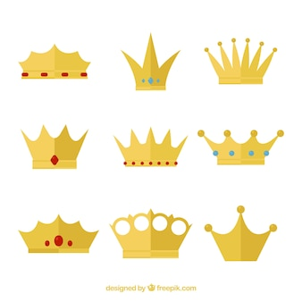 Collection of queen's crowns with flat design