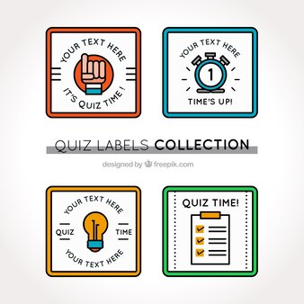 Collection of quiz labels with different colors