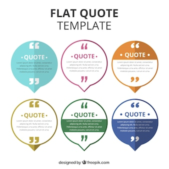 Collection of quote template in flat design
