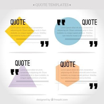 Collection of quote with polygonal shapes