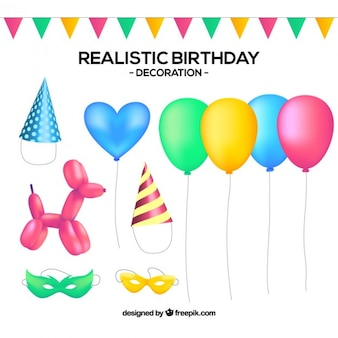 Collection of realistic birthday decoration