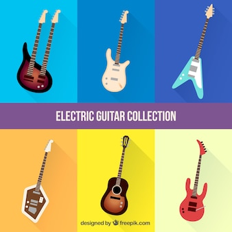 Collection of realistic electric guitars