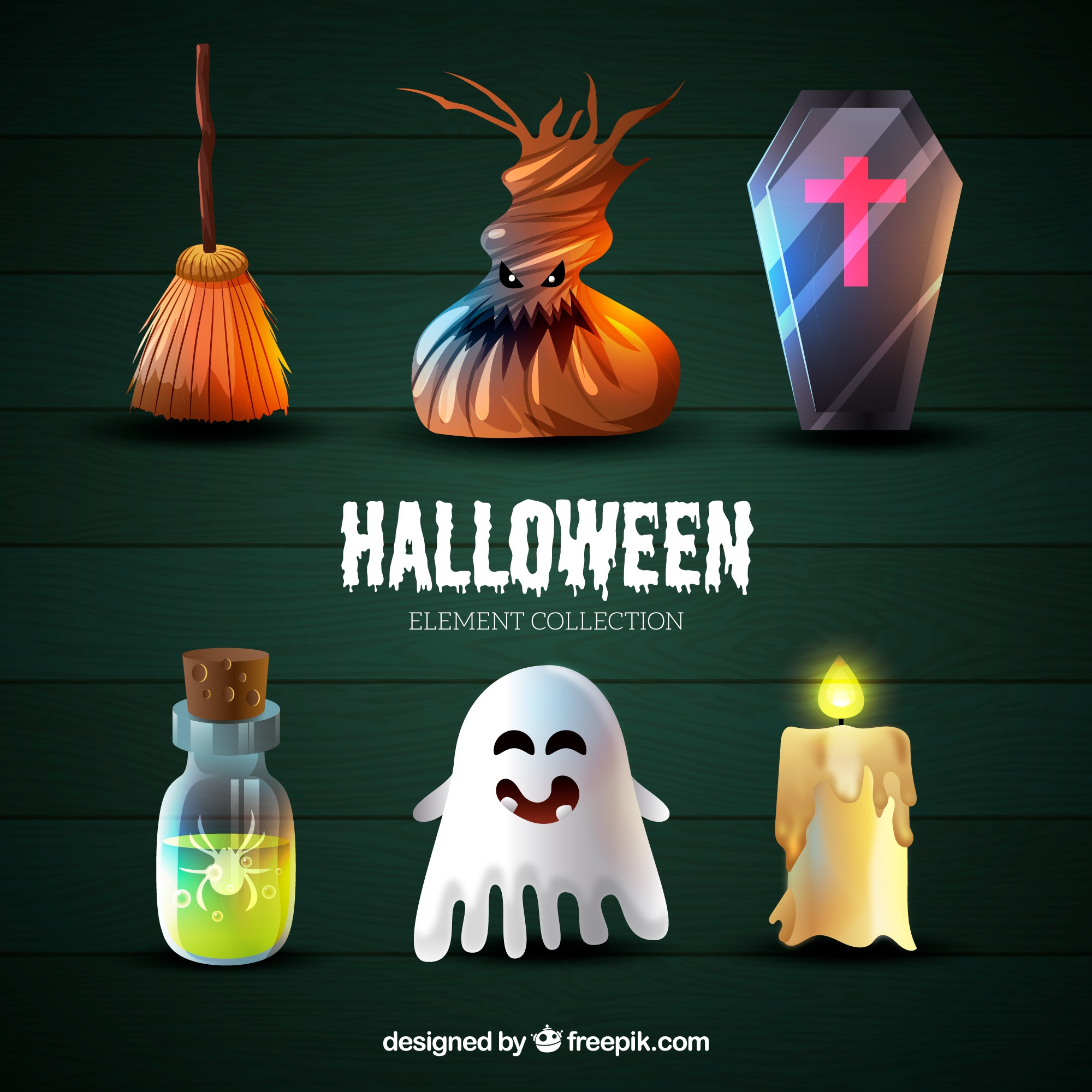 Collection of realistic halloween things