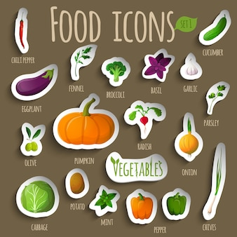 Collection of realistic vegetables