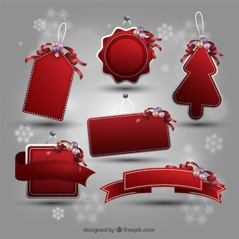 Collection of red christmas tags
