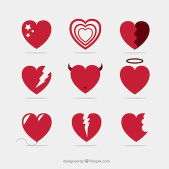Collection of red heart icons