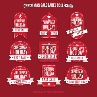 Collection of red vintage stickers of christmas sales