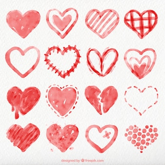 Collection of red watercolor hearts