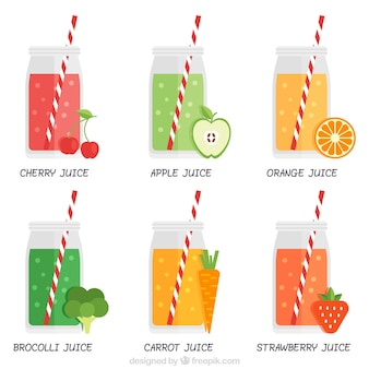 Collection of refreshing healthy juice