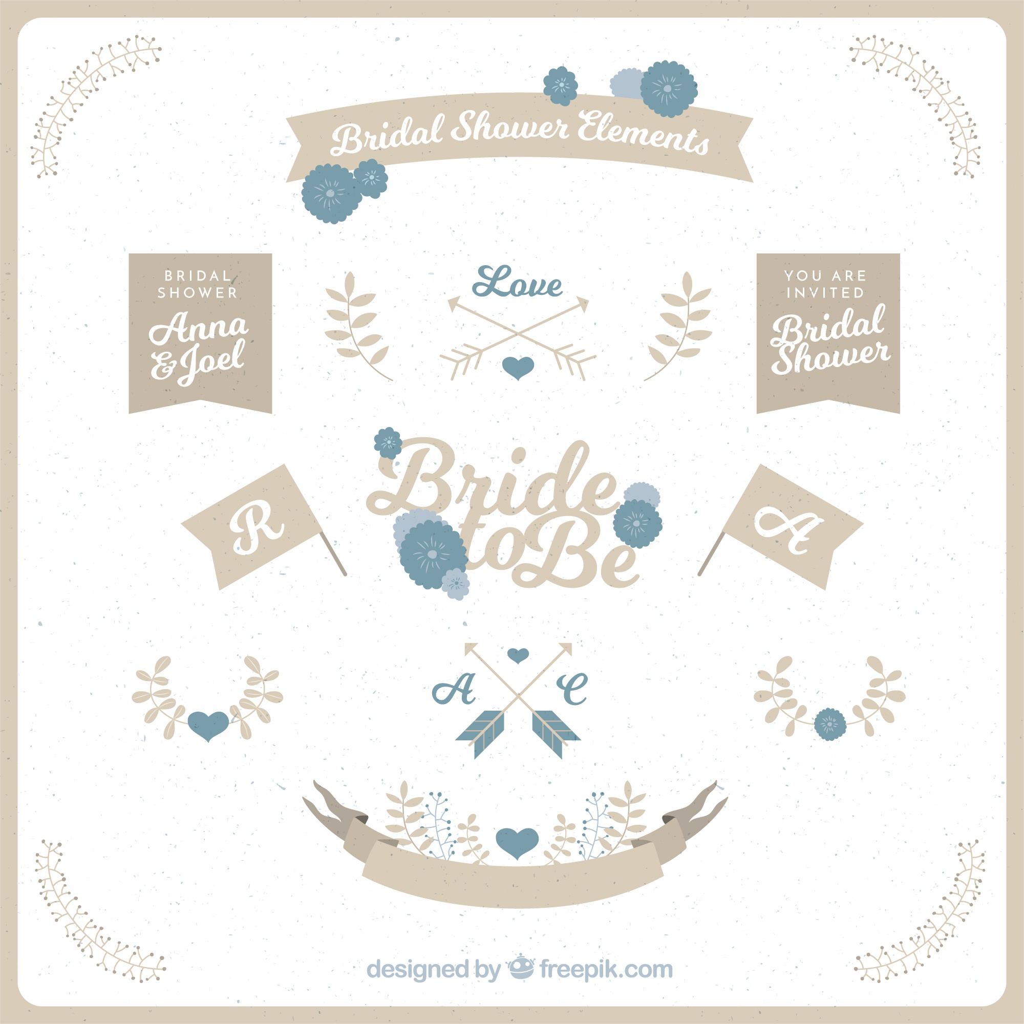 Collection of retro bridal shower elements