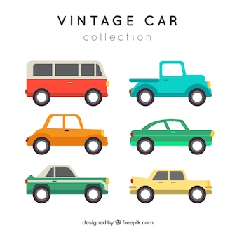 Collection of retro cars in flat design