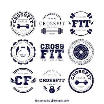 Collection of retro crossfit stickers
