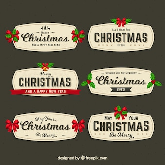 Collection of retro decorative christmas badge