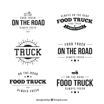 Collection of retro food truck logotype