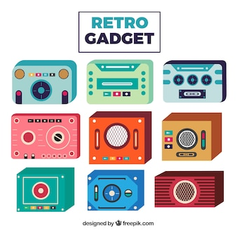 Collection of retro gadget in flat design